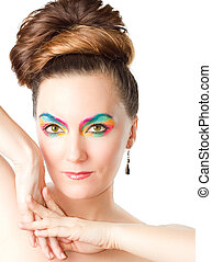 exotic professional makeup woman on white background