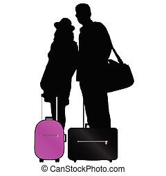 couple with bags to travel vector illustration on a white...