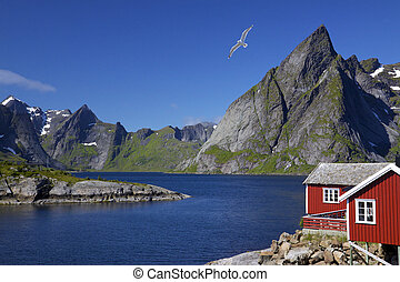 Lofoten islands - Scenic view of Lofoten islands with...