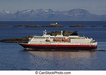 Cruise along Norwegian coast - Large passenger ship cruising...