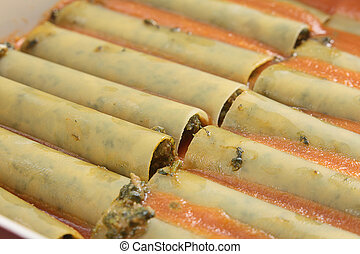 Stuffed cannelloni tubes - Tubes of cannelloni stuffed with...
