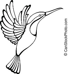 hummingbird tattoo - Vector illustration of hummingbird...