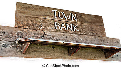 Old Western Town Bank Sign Isolated on White - This rustic...