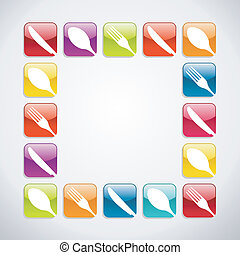 Rounded square cutlery web icons background - Multicolored...