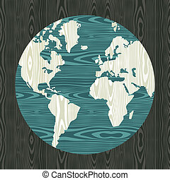 World map shape in wood - Wooden world shape texture...