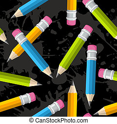 Back to school pencil grunge pattern - Colorful pencils...