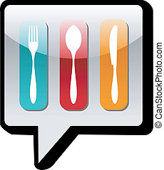 Cutlery icons in social network bubble