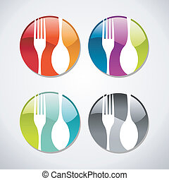 Gourmet glossy web button icons set - Multicolored glossy...