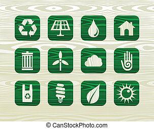 Environmental green icons in organic wood