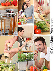Mosaic of couple preparing vegetables