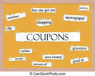 Coupons Corkboard Word Concept with great terms such as...