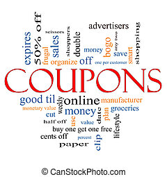 Coupons Word Cloud Concept with great terms such as...