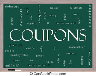Coupons Word Cloud Concept on a Blackboard with great terms...