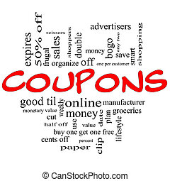 Coupons Word Cloud Concept in red and black - Coupons Word...