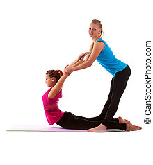 couple cute young woman doing stretch exercise - young...