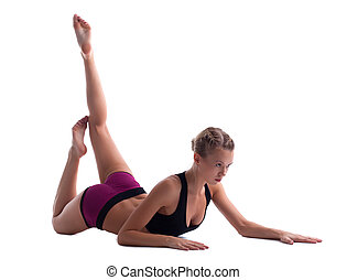 cute blond woman doing split isolated