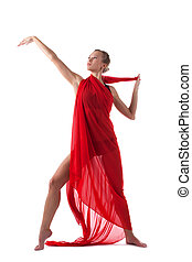 woman dance with flying fabric isolated