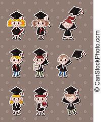 estudiantes, Pegatinas, caricatura, graduado