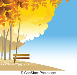 wooden bench on hilltop - This illustration is a common...