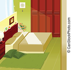 Bedroom Interior - This illustration is a common cityscape...