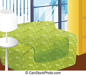 interior design - There are green couches and white stand in...