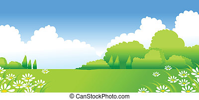 Green Landscape with white Flowers - This illustration is a...