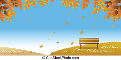 lonely bench on autumn path - This illustration is a common...