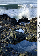 Calm sea rock and powerful waves - Calm sea rock is breaking...