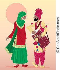 punjabi performers - an illustration of male and female...