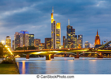 Frankfurt at night - Frankfurt am Mine at night, Germany