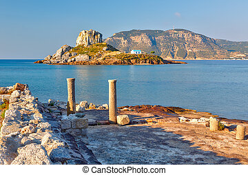 Ancient ruins on Kos, Greece - Island Kastri and ruins on...