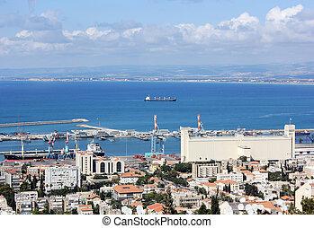 Haifa and waters of the port , Israel, Mediterranean sea