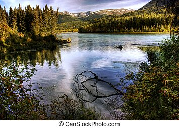 Kenai River in Fall - The Kenai River in Alaska near Cooper...