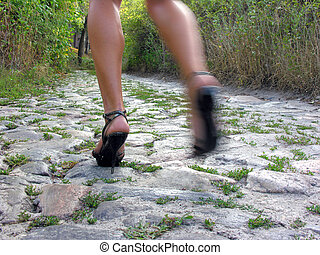 running woman on the rustic road