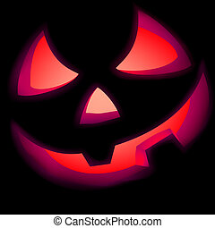 Jack O Lantern pumpkin illuminated green. EPS 8 vector file...