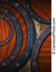 Wooden Grunge Background - Circles - Wood background with...