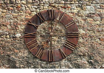 Ancient Clock Face on wall Background - Ancient Clock Face...