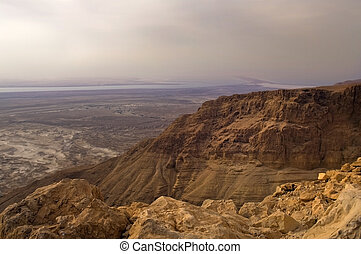 view from Masad's mountain on vicinities of the Dead Sea,...