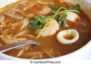 Spicy thomyam soup - Spicy thomyam seafood soup traditional...