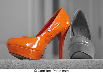 Orange High Heel - highlighted orange high heel on black and...