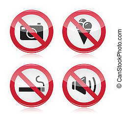 Forbidden sign: no cameras, no food - Red glossy modern...
