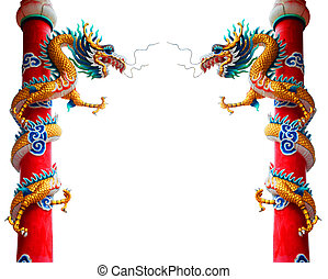 The Chinese style dragon statue on white background