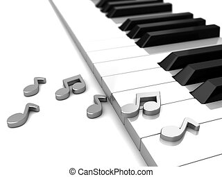 Melody - Modern piano with grey music notes, 3d illustration