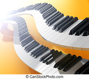 Music concept - Two modern synthesizers curves over yellow...
