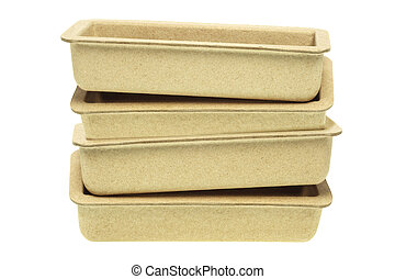 Recycled Paper Trays - Stack of Recycled Paper Trays on...