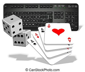 Online gambling - A computer keyboard with dices and playing...
