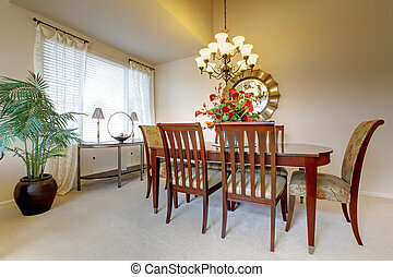 Dining room with clasic elegant furniture. - Golden dining...