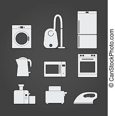 home and kitchen equipment icons