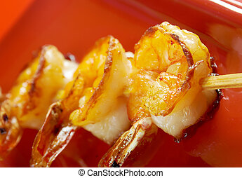 Japanese skewered Jumbo Shrimp closeup