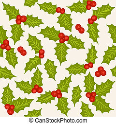 Holly seamless pattern - Holly - natural winter seamless...